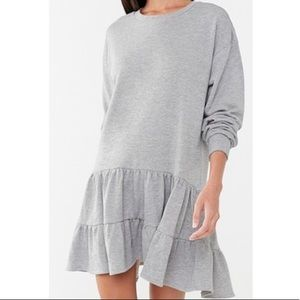 Shirred Sweatshirt Dress